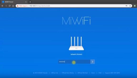 Tela principal de configuração do Mi Router de acesso pelo endereço 192.168.31.1