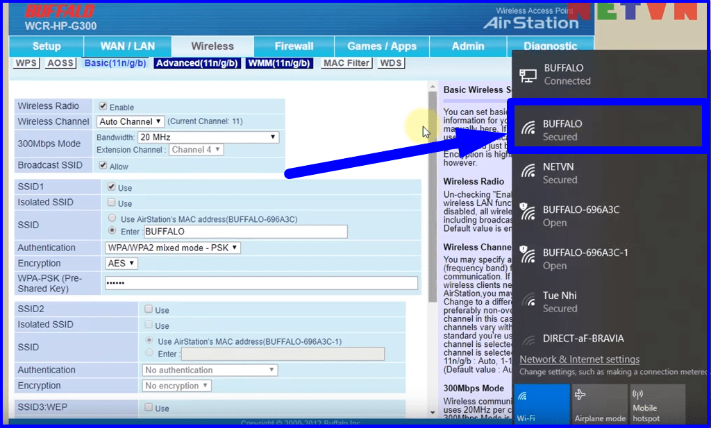 Imagem com uma seta apontando para a rede wifi buffalo captada pelo computador.