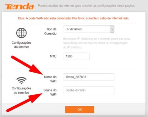 Imagem mostra tela de configuração do roteador Tenda de acesso pelo IP 192.168.0.1
