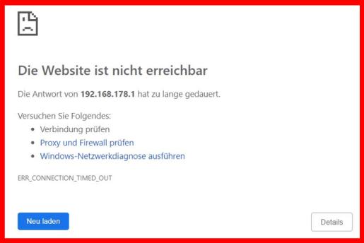 die website ist nicht erreichbar - fritz.box - https //192.168.l78.1 login