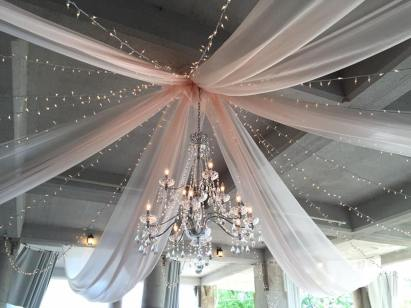 1 2-Tier Crystal Chandelier, 6 Panels of Champagne Organza,14 Strands of Twinkle Lights