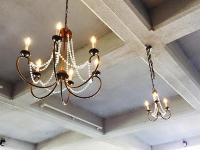 1 Large, 1 Small Brushed Gold Chandelier