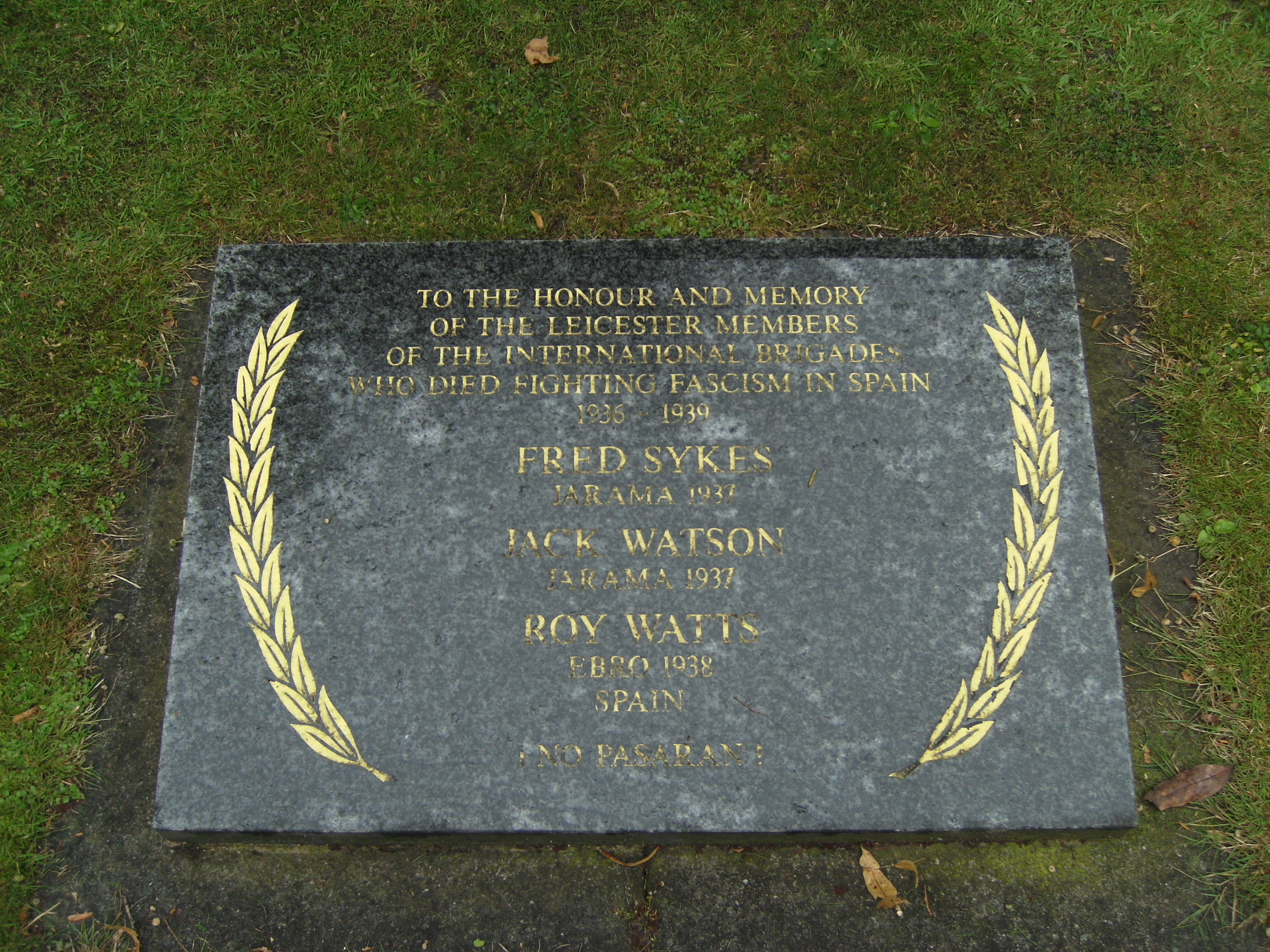 Leicester International Brigade memorial