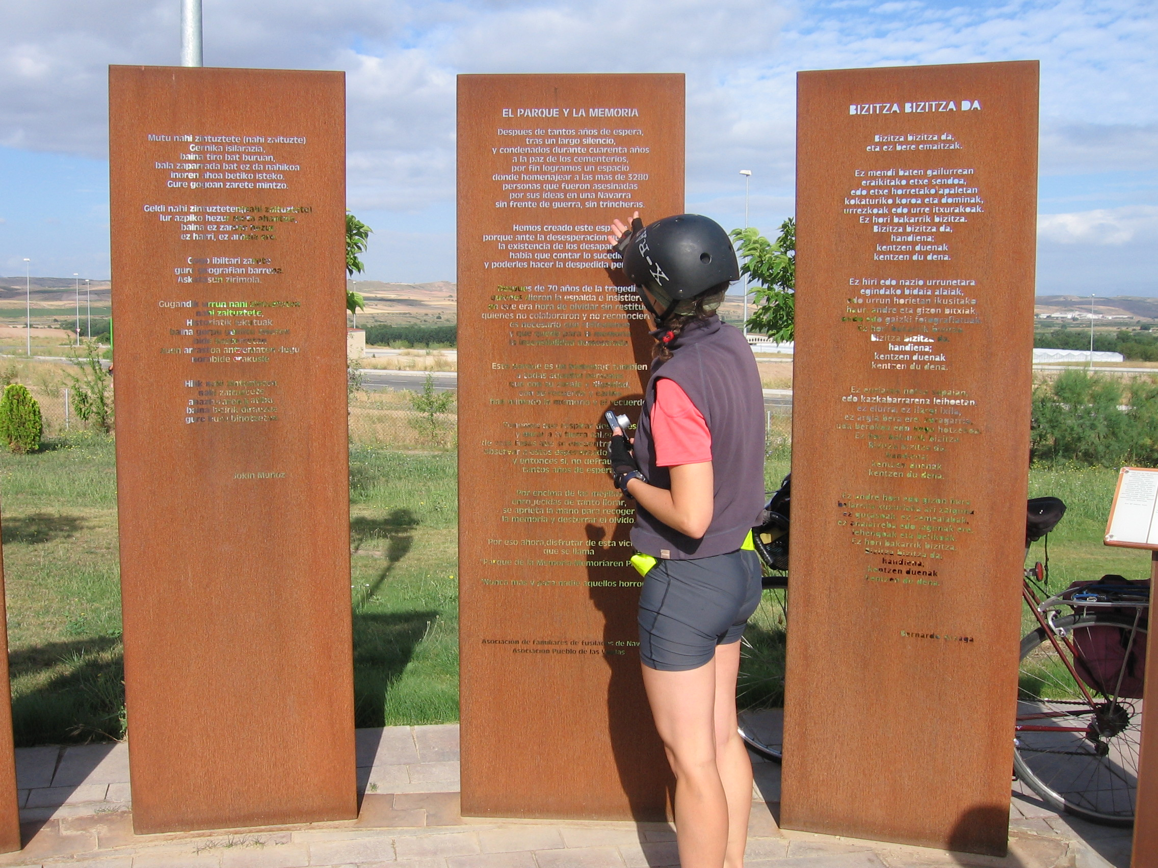 """Anna in front of the memorial in the """"Village of the Widows"""""""