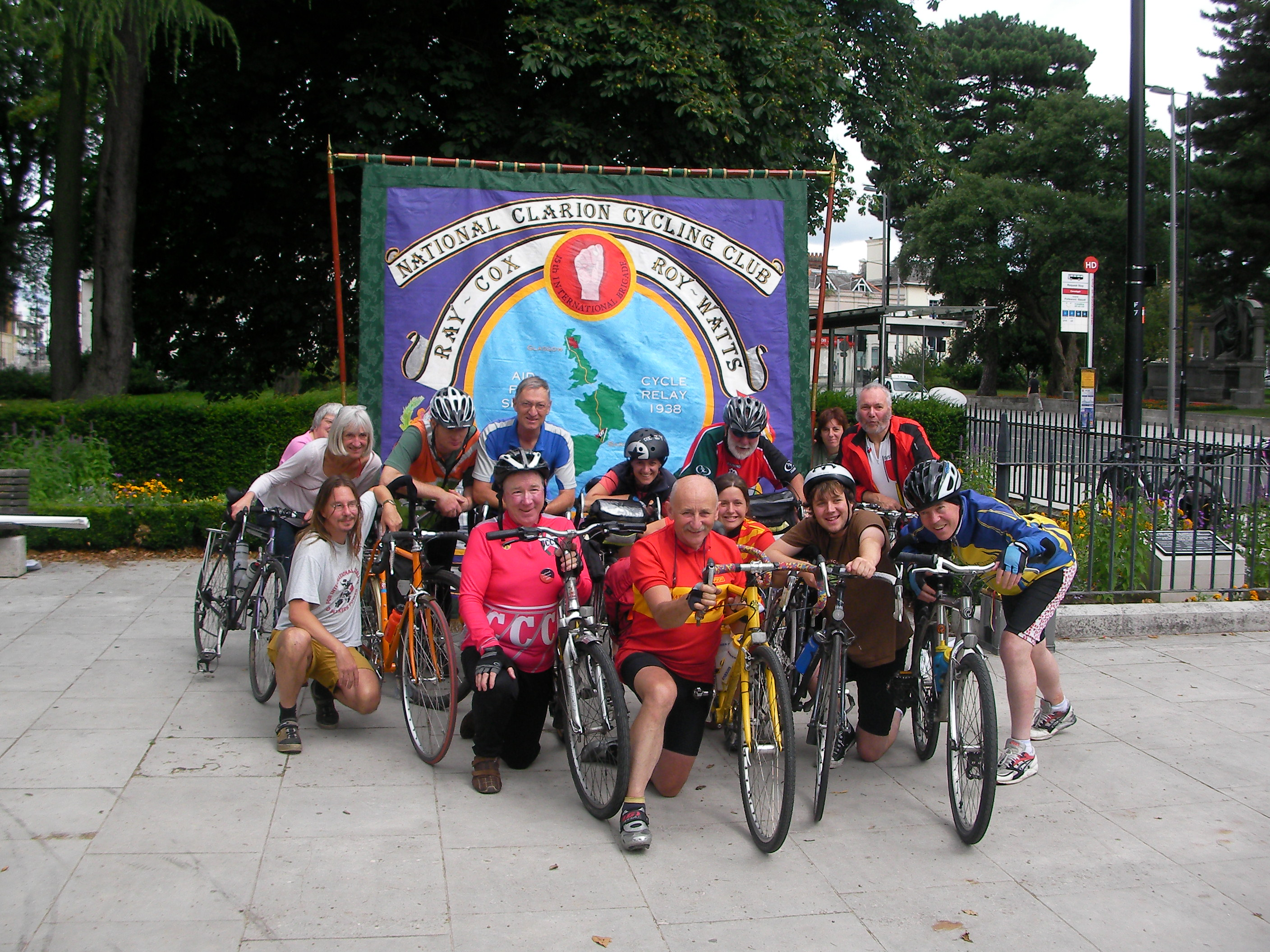 The cyclists and friends before they left for Portsmouth