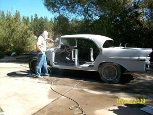 Soda blasting the Pontiac