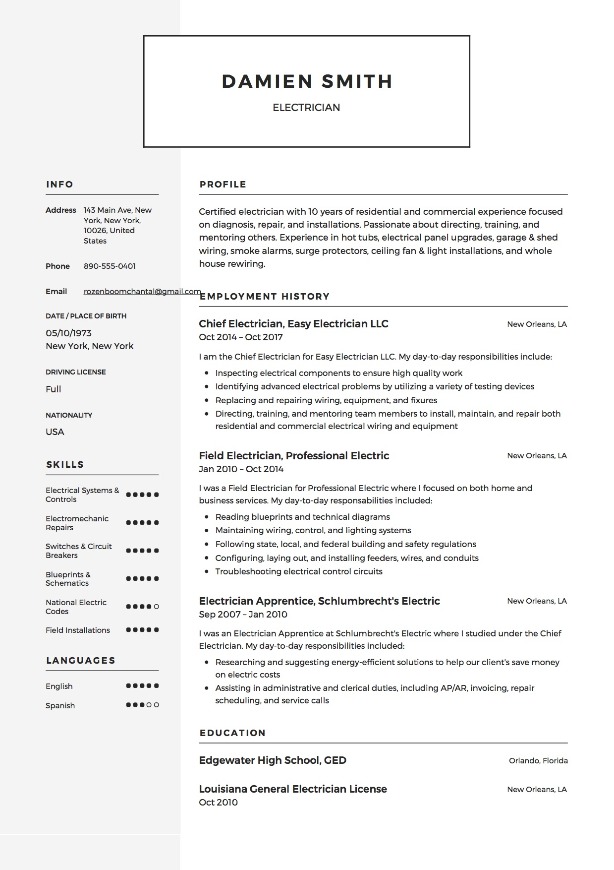 Download sample resume templates in pdf, word formats. Guide Electrician Resume Samples 12 Examples Pdf Word 2020