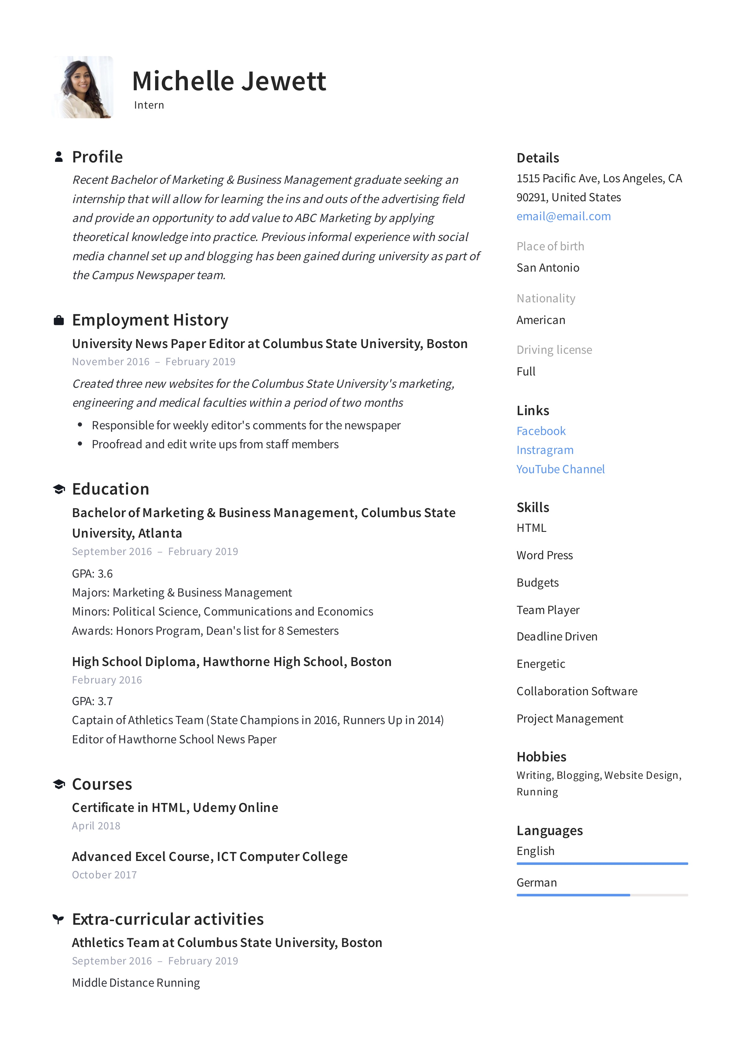 Or b.s., it looks more professional to spell out the full bachelor of arts or bachelor of science. Intern Resume Writing Guide 12 Samples Pdf 2020