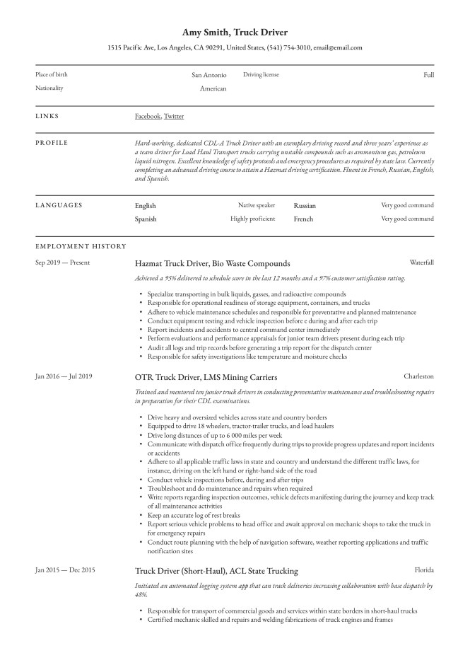 Truck Driver Resume Writing Guide