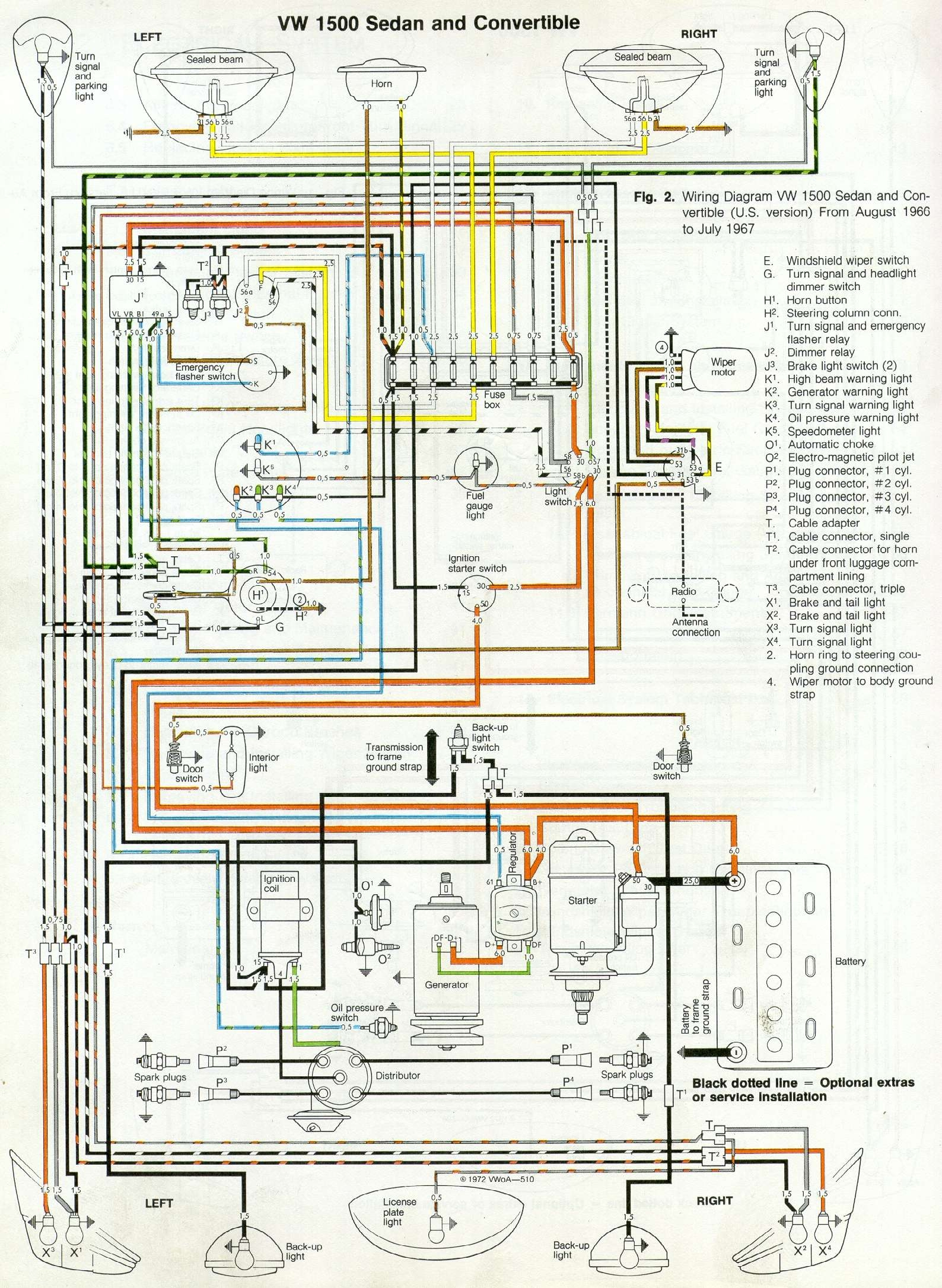 66 and 67 vw beetle wiring diagram 1967 vw beetle rh 1967beetle com 1971 VW  Super Beetle Fuse Diagram Volkswagen Beetle Wiring Diagram