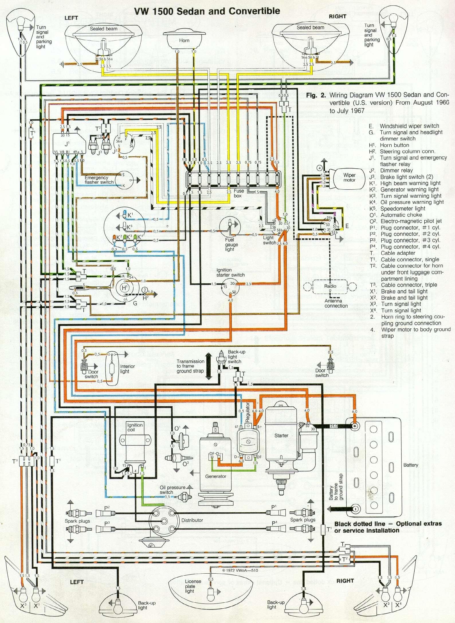 66 and 67 vw beetle wiring diagram rh 1967beetle com VW Bug Wiring Kit VW Bug Alternator Wiring