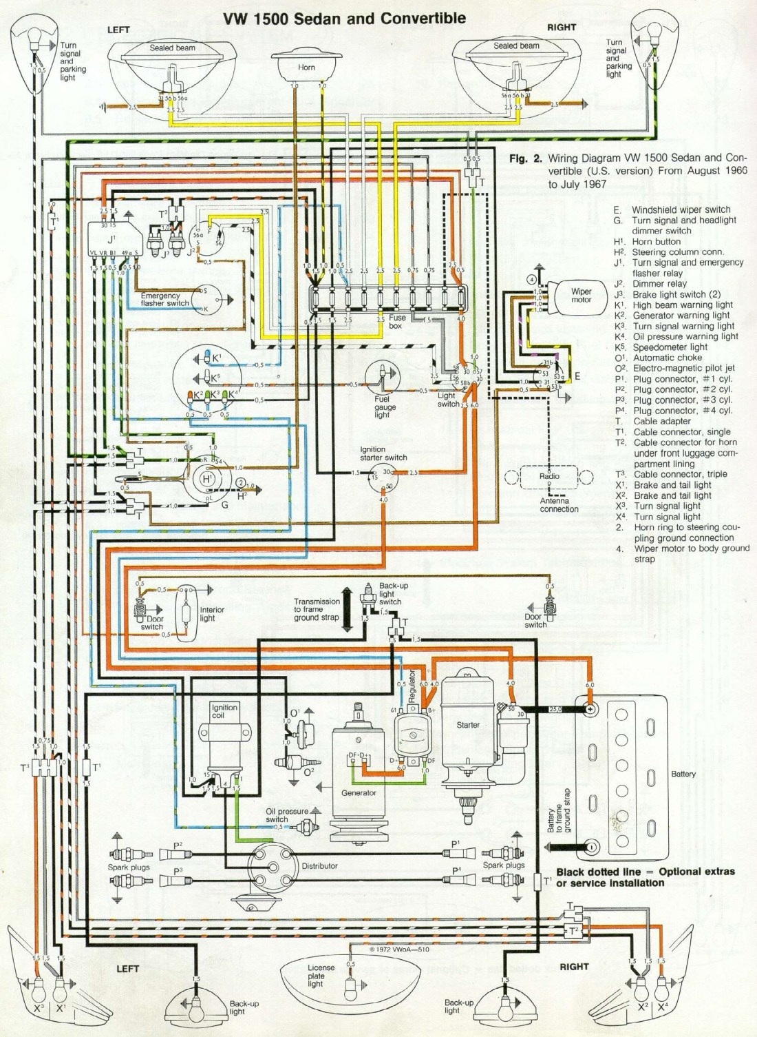 I've received 4 emails in the last 2 weeks asking for the correct wiring  diagram for both a '66 and '67 Beetle. Illustrated below is the VW 1500  sedan and ...