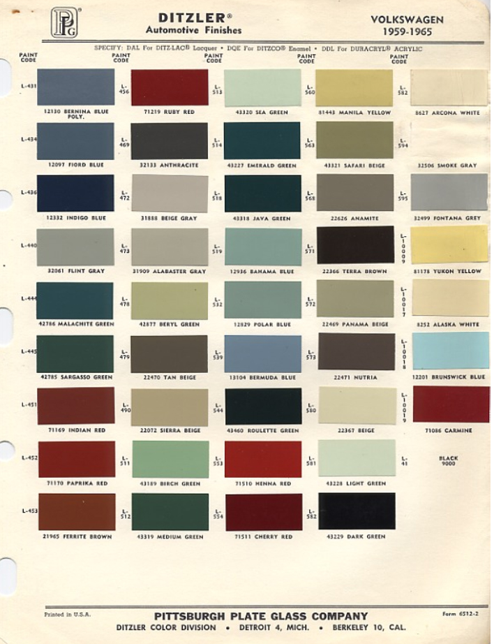 Original VW Beetle Paint Schemes