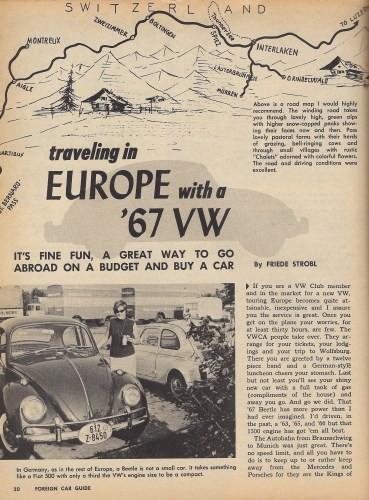 '67 Volkswagen Beetle — Traveling in Europe