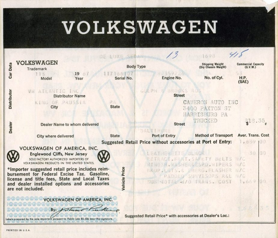 '67 Volkswagen Beetle — What's it Worth?