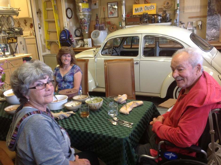 Hermann and Marcia at lunch Brittany garage with Carol