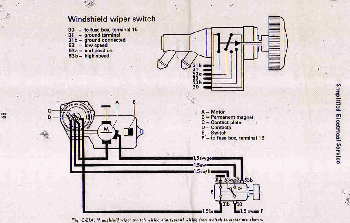 Vw Thing Wiper Motor Wiring Diagram Diagrams Switch And Schematic Box Bug Blog Universal Beetle