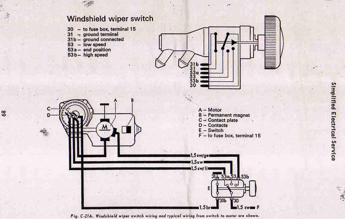 6v Vw Wiper Motor Wiring Diagram Internal Diagrams Passat Engine 67 Beetle Testing Servicing 1967 1990