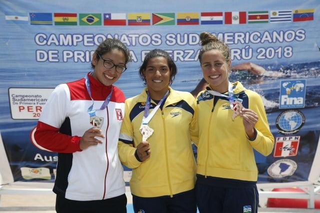 Podio 5km femenino Aguas Abiertas Sudamericano Peru 2018