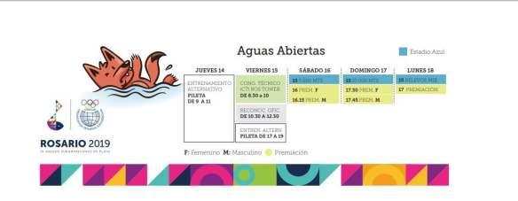 Calendario Aguas Abiertas IV Juegos Suramericanos de Playa