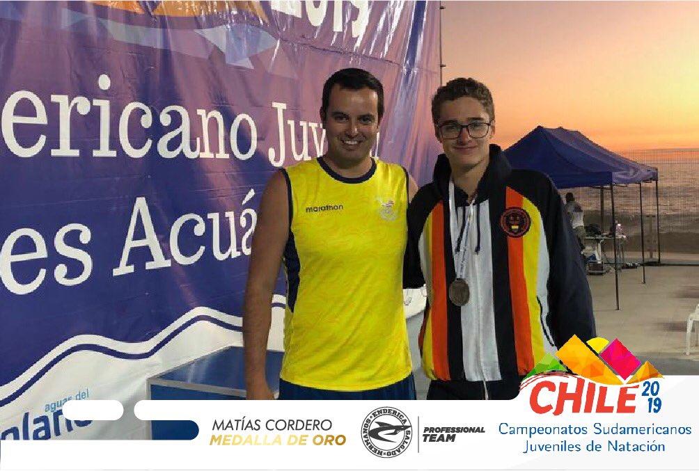 Matias Cordero medalla de oro Ecuador 7.5km sudamericano juvenil de aguas abiertas Chile 2019