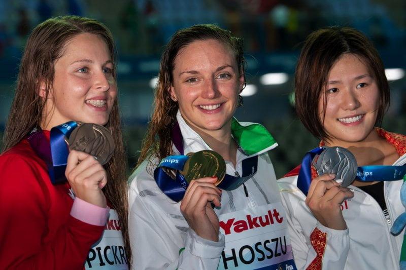 Podio 200m IM Femenino Mundial FINA Gwangju 2019