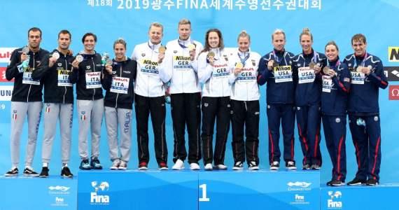 Podio 5Km Mixto Mundial FINA Aguas Abiertas 2019
