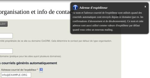 CiviCRM Aide Contextuelle Courriel Expéditeur