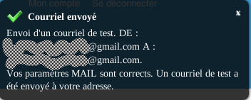 CiviCRM Param Courrier Sortant Mail Save and Test