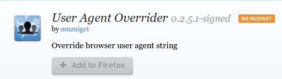 User Agent Overrider