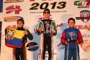 Anthony Gangi Jr. celebrates on the podium for his Rotax Mini Max victory in West Palm Beach (Photo: INTL-KartingMedia.com)