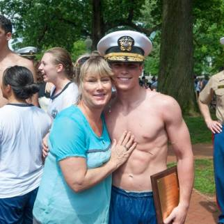 Rita Bianchi and son Midn 4/C Chris Bianchi after Herndon Climb 2016
