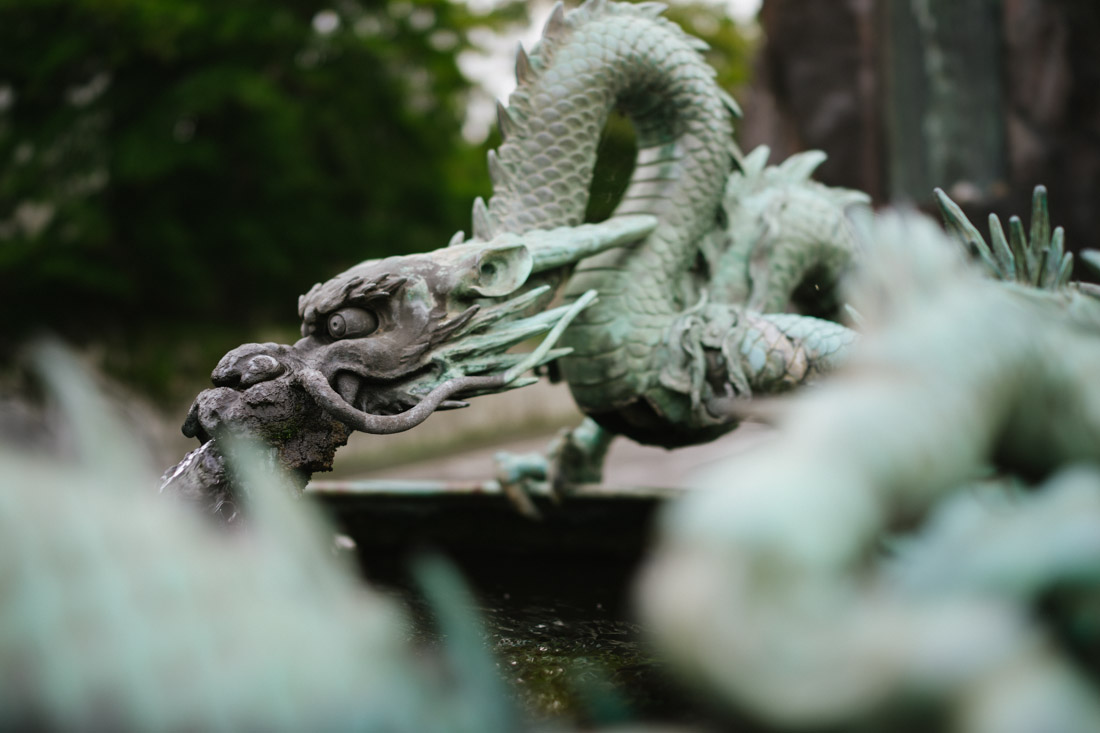 Dragon sculpture served as a fountain.