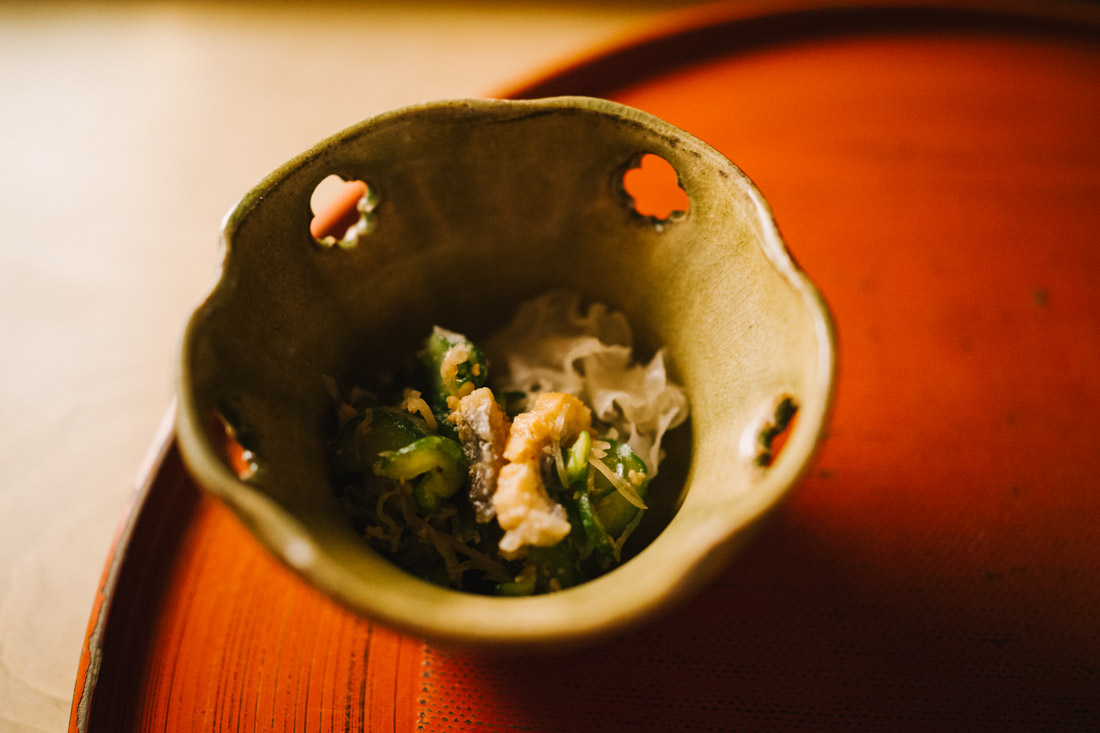 Eel and cucumber with jelly mushroom.