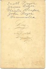Reverse of cabinet card photograph of John, Scott, James Pryor, Clinton Draper and Joe Hammersla