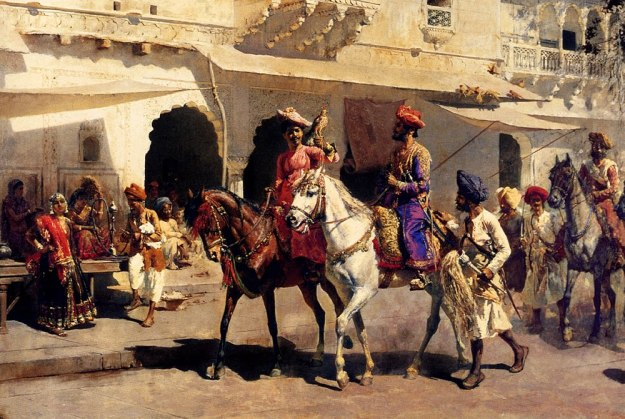 Leaving for the Hunt at Gwalior - Oil Painting by American Artist Edwin Lord Weeks