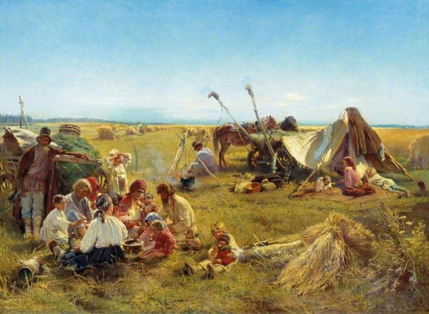 peasant-dinner-during-harvesting_makovsky