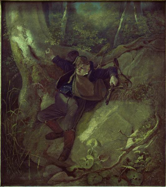 C.Spitzweg, Jagdunglueck - Spitzweg / Hunting Accident / Painting -