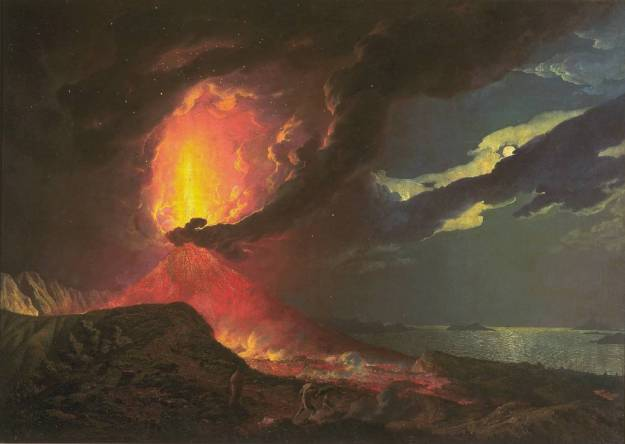 Vesuvius in Eruption, with a View over the Islands in the Bay of Naples circa 1776-80 by Joseph Wright of Derby 1734-1797