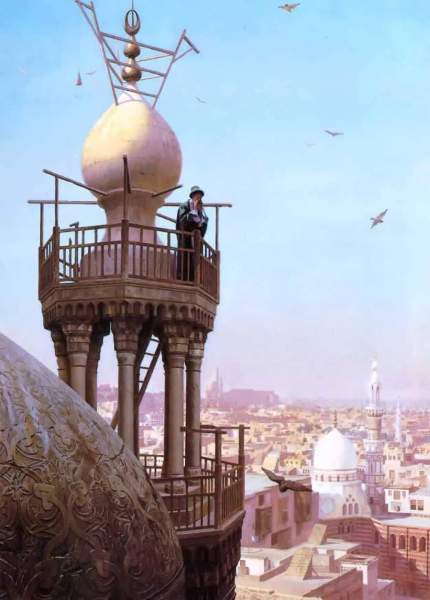 a-muezzin-calling-from-the-top-of-a-minaret-the-faithful-to-prayer Jean-Leon-Gerome