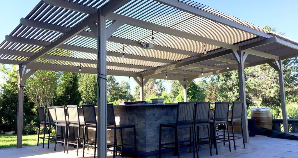 Louvered Pergola Covers | Shade and Shutter Systems, Inc ... on Patio Cover Ideas For Rain id=48335