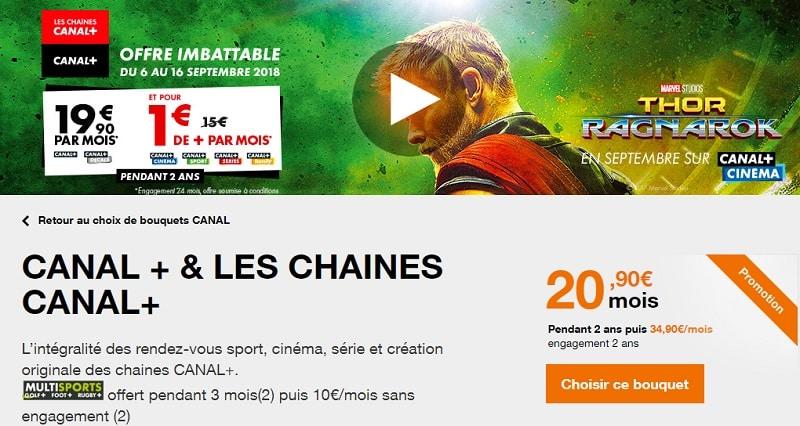 les chaines canal + en promo à 1€