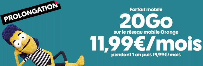 forfait sosh mobile 20 go en promo à 11.99 euros