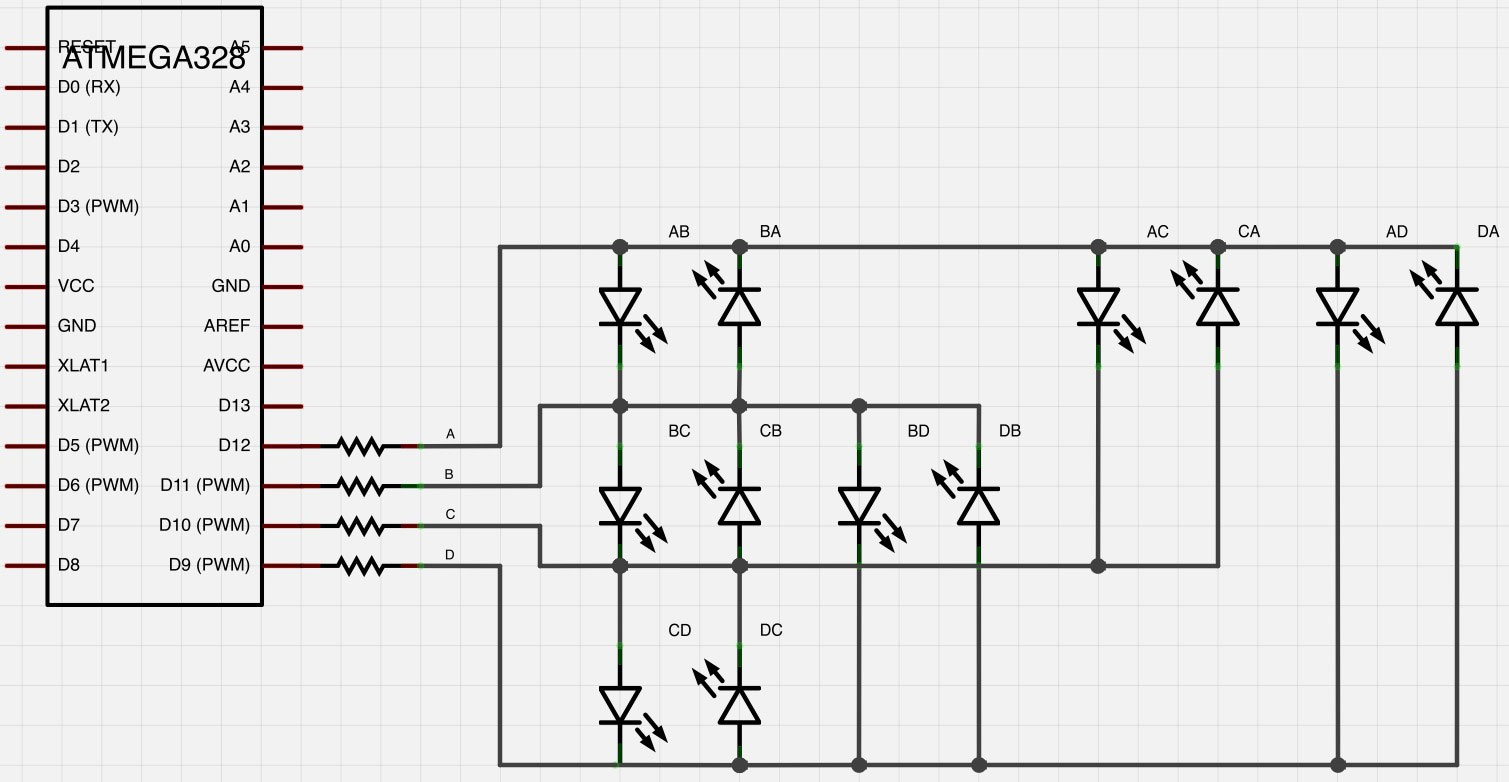 12 Led Charlieplexing Schematic