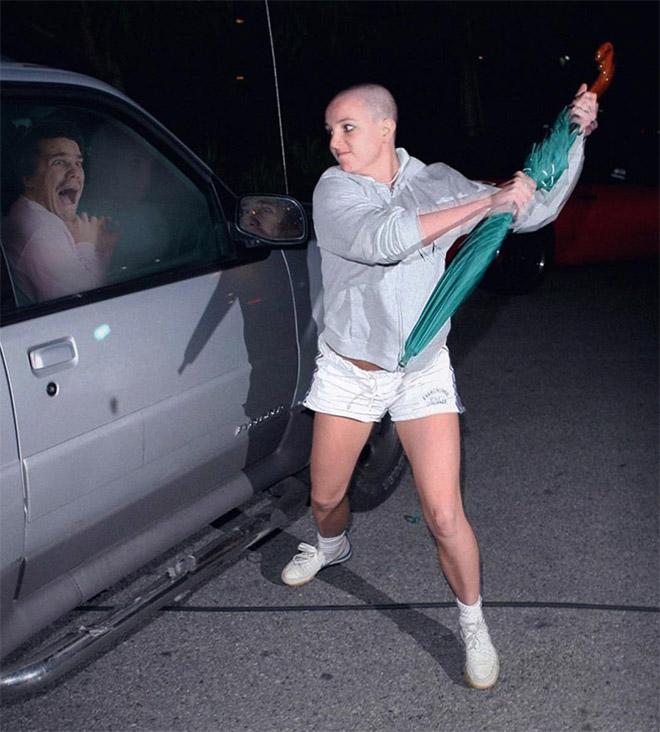 Avoiding psycho Britney attack.