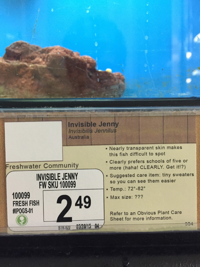 Funny pet store animal description.