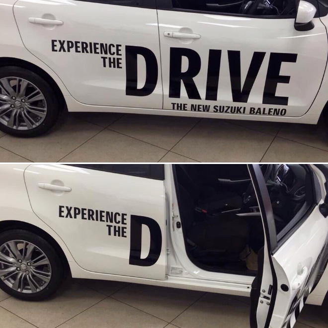 Funny car ad fail.