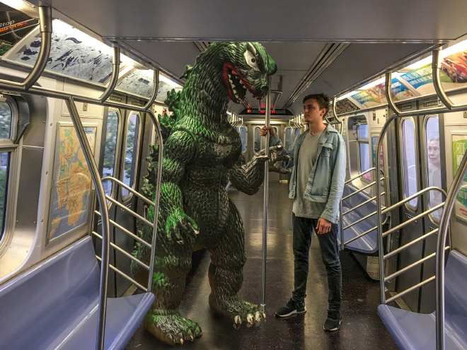 Hanging out with Godzilla.