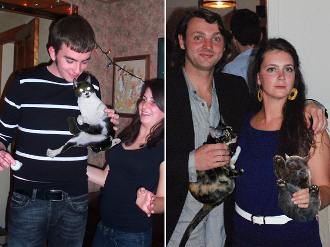 Hiding booze with cats.