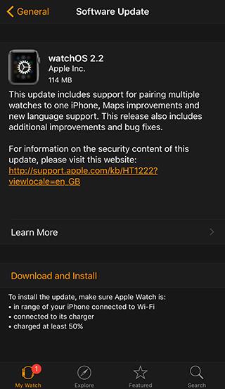 Как установить watchOS 2.2 на Apple Watch